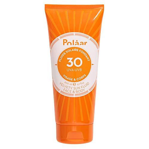 Polaar - Fluide Solaire Fondant Spf 30 Visage & Corps 200ml - Crème Solaire Protectrice UVA & UVB - Soin adapté aux peaux sensibles - Sans traces blanches - Beauté - Made in France