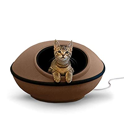 """K&H Pet Products Thermo-Mod Dream Pod Heated Pet Bed Tan/Black 22"""" 4W"""