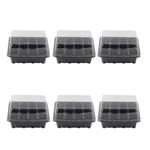 DOITOOL 6 PCS Seedling Starter Trays with Dome 12 Cells for Gardening Bonsai Seedling Plant Grow Starting Germination Kit 18 x 14 x 6 cm (Black)