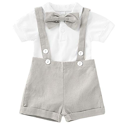 Baby Boy Clothes Gentleman Bowtie Romper and Overalls Suspenders Pants Wedding Tuxedo Outfits(Grey,12-18m)