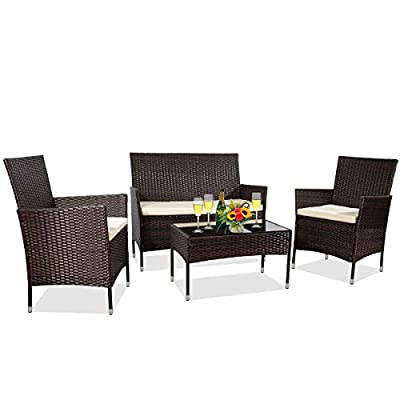 MIERES Patio Furniture Sets 4 Pieces-Sturdy Wicker Outdoor Indoor Conversation Bistro |304 Metal Feet | Bench Seat Two Rattan Chairs One Glass Top Table |for Porch Backyard, Brown