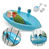 Bird Bath Tub Bowl Basin Hanging Birdbath Toy Pet Parrot Budgie Parakeet Cockatiel Cage Water Shower Food Feeder With Mirror (Blue)