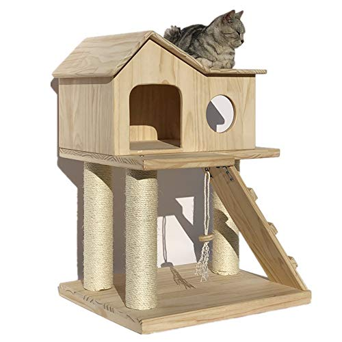 Kratzbaum Katze Holz Katze Kletterturm Zimmer Gemütlich Und Komfortabel Holzhängematte Katze Gehockt Home Events Nach Dem Spielen Katzenkratz Plattform Turm ( Color : Natural , Size : As pictiure )