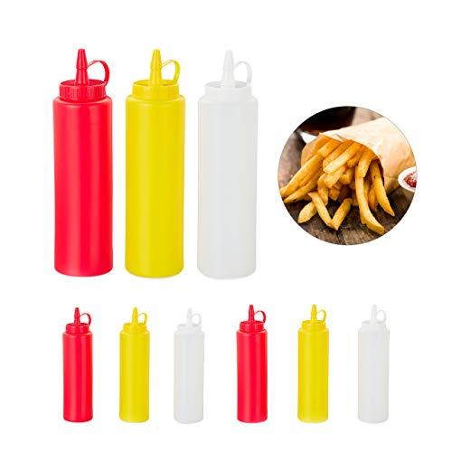 Relaxdays Squeeze Flasche, 9er Set, für Saucen, zum Quetschen, nachfüllbar, Zuhause & Gastronomie, 400 ml, rot/gelb/weiß