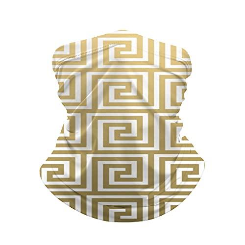Clave griega blanca y elegante cuello de oro Polaina máscara facial Bandana calentador de cuello frío a prueba de viento ligero bufanda de seda de hielo para hombres mujeres