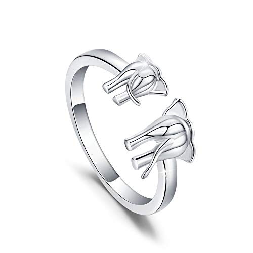 KINGWHYTE Elephant Ring Sterling Silver Engraved Elephant Adjustable Wrap Open Ring for Mum Gifts