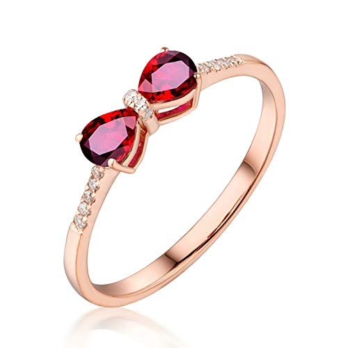Socoz Mujer Unisex oro rosa de 18 quilates pera Red Ruby