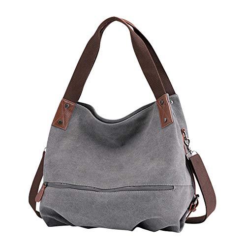 Gindoly Damen Canvas Handtasche Klein Vintage Shopper Schultertasche Henkeltasche Hobo Tasche Beuteltasche EINWEG(Grau)