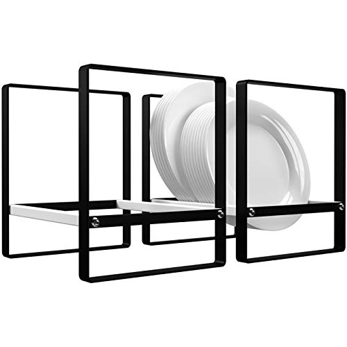 Plate Holder Upright Cabinet Organizer, Ganamoda Non-Slip Dish Drying Rack for Kitchen Countertop Cupboard RV Camper, 2 Pack (Large)