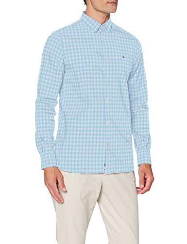 Tommy Hilfiger Slim Flex Htooth Gingham Shirt Chemise, Blue BCD4E6, X-Small Homme