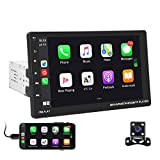 Hikity Bluetooth Car Stereo Single Din 9 Inch Touch Screen Car Radio FM with USB AUX-in RCA Rear View Camera Input Support Mirror Link D-Play for Android iOS Phone + Backup Camera & Remote