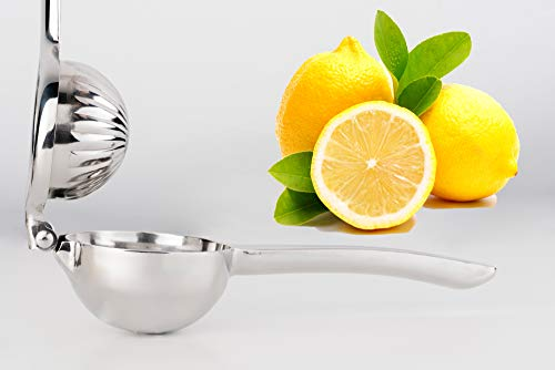 My Companion Zitronenpresse Limettenpresse Orangenpresse-Presse für Zitronen, Limetten o. Orangen-Spülmaschinenfest-robust-Silber-Zitruspresse-Saftpresse-Citruspresse-Orangenpresse-Manuel