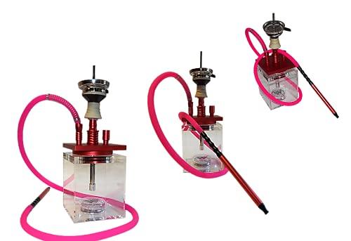 MTi products® | Shisha | Shisha Set | Wasserpfeife | Hookah 40cm | aus Acryl | Mit Ice Bazooka | (Rot Pink)