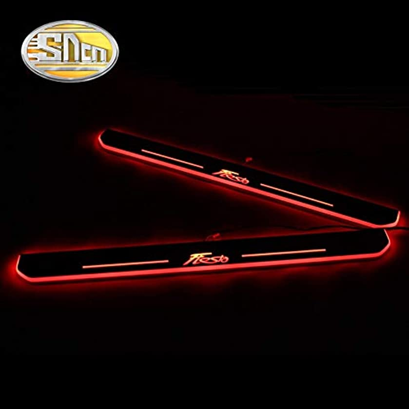 4PCS Acrylic Moving LED Welcome Pedal Car Scuff Plate Pedal Door Sill Pathway Light For Ford Fiesta 2015 2016 2017 2018 - (Style: all 4pcs red)