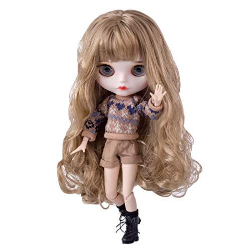 Mecotecn Blythe Doll, 1/6 Blythe Puppe Doll mit Make-up, Kleidung, 4 Farben Augäpfel, Hände, Schuhe (12Inch/30CM)