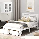 MERITLINE Wood Platform Bed Frame with Drawers ,Full Size Bed Frame with Headboard ,Full Kids Bed Frame for Boys, Girls, Teens or Adults ,No Box Spring Needed, White