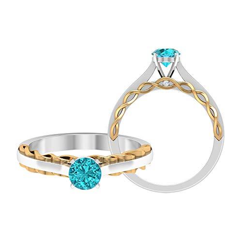 Rosec Jewels 14 quilates oro amarillo redonda round-brilliant-shape H-I Blue Diamond Creado en laboratorio verde Paraiba