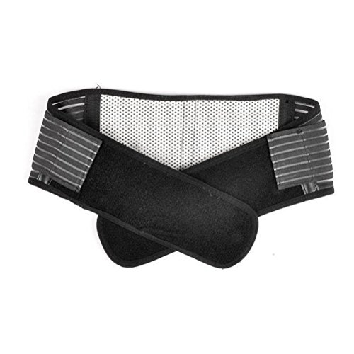 Tinksky Portable Adjustable Elastic Infrared Self-Heating Magnetic Therapy Back Waist Support Lumbar Brace Belt Double Pull Strap Lower Pain Massager - Size XL (Black)
