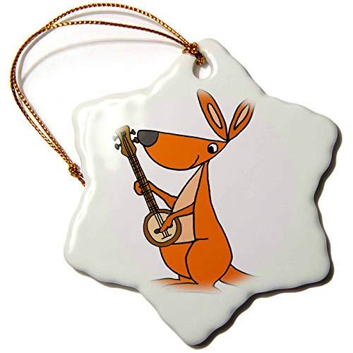 3dRose Snowflake Ornament - Funny Cute Orange Kangaroo Playing banjo Cartoon - 3-inches (orn_263973_1)