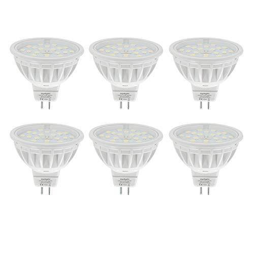 5.5W MR16 LED Lampen Gu5.3 Strahler,kaltweiß 6000K,Ersetzen 60W Halogen Lampe,DC12V 600LM Ra85,6er Pack.