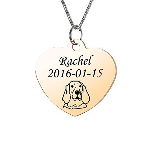HooAMI hondenmerk met gravure naam roestvrij staal gepersonaliseerde hanger hond ID dag sleutelhanger hart dames heren ketting, goud