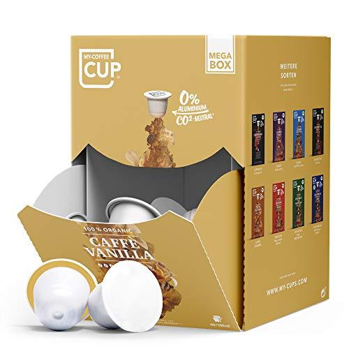 My-CoffeeCup – MEGA-BOX CAFFÈ VANILLA – BIO-KAFFEE I 100 Kaffeekapseln für Nespresso®*-Kapselmaschinen I 100% industriell kompostierbare Kaffeekapseln – 0% Alu I Nachhaltige Kaffeekapseln