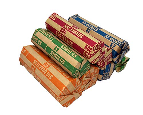Flat Coin Wrapper 400 Assorted Pack, ABA-Standard Colored Striped Durable Kraft Paper