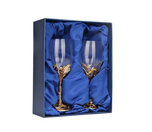 QYZLT Kreative Iris Emaille geschnitzt Rotweinglas Business Becher Startseite Geschenkset Weinglas Dekoration 301ml