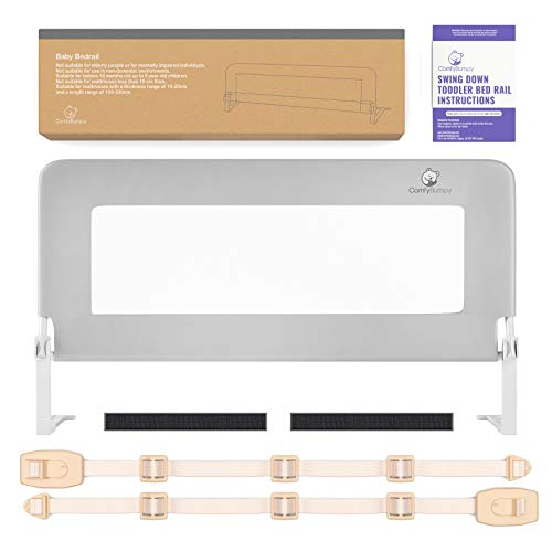 Toddler Bed Rail Guard for Kids Twin, Double, Full Size Queen & King Mattress - Bed Rails for Toddlers - Fit for Slats & Boxspring - Children & Baby Bedrail by ComfyBumpy (Grey Reg)