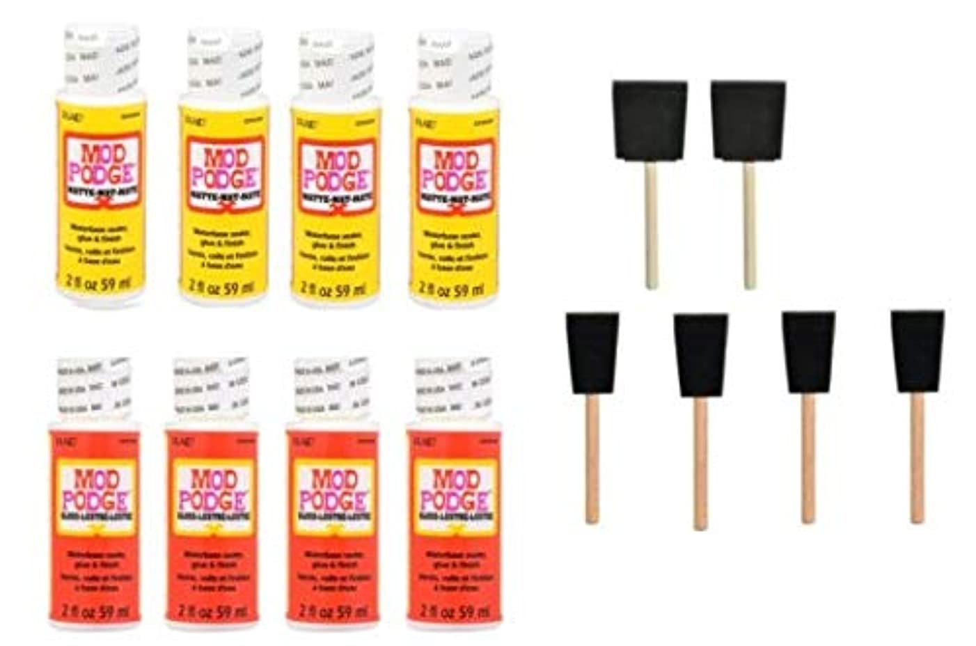 Mod Podge Craft Decoupage Glue, Waterbase Sealer, Bond and Finish with 6 Foam Craft Paint Sponge Applicator Brushes – Gloss and Matte Medium Transfer Supplies Project Saver - Variety Pack Bundle Start