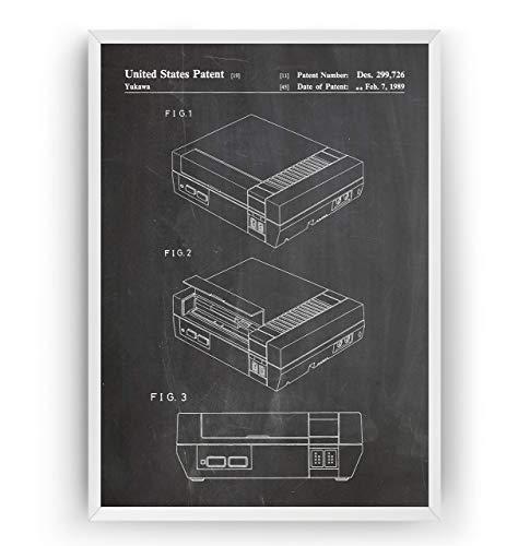 NES 1989 Patent Poster - Gamer Gaming Print Gift Vintage Blueprint Retro Girls Boys Video Games Room Wall Art Bedroom Original Decor Merchandise Classic - Frame Not Included