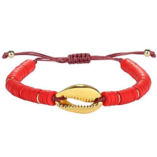 Kanyee Pulseras de Cuentas Multicolores para Mujer Pulsera de Perlas de Concha Brazalete de Cuerda Hecho a Mano Pulsera de la Amistad Rojo 2P