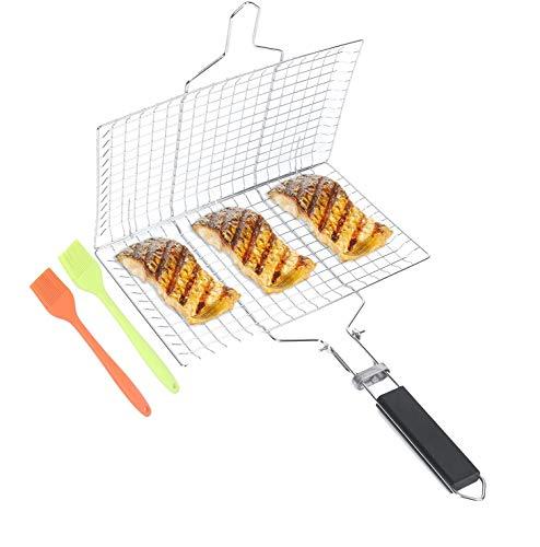 TIANTIAN Portable Fish Grill Basket with Removable Handle 2 Brushes Large Folding BBQ Grill Basket For Fish Vegetables Meat Shrimp Dishwasher Safe
