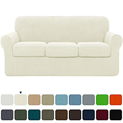 subrtex High Stretch Jacquard Slipcover with 3 Separate Cushion Common Couch Sofa Cover Coat for 3-Seater Conventional Settee Spandex Washable Furniture Protector (Large, Ivory)