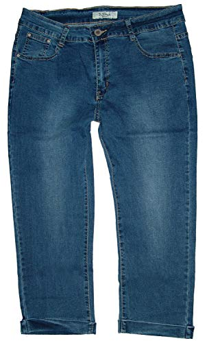 b.s Dames Stretch Capri driekwart jeans broek, kreukellook