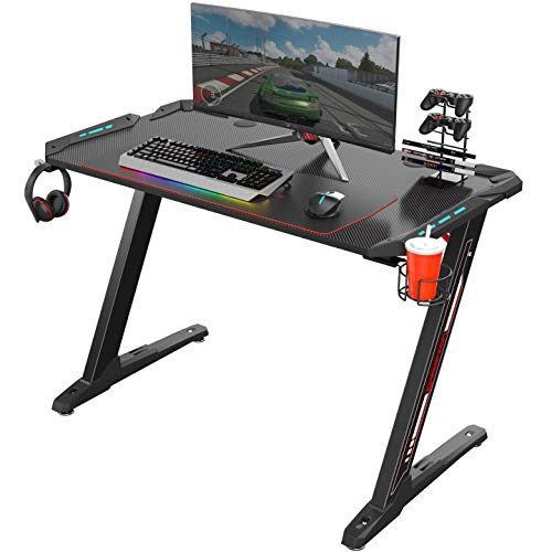 Eureka Ergonomic Z1-S Gaming Desk 44.5' Z Shaped Office PC Computer Gaming Desk Gamer Tables Pro with LED Lights Controller Stand Cup Holder Headphone Hook Free Mousepad for Men Boyfriend Female Gift