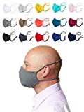 Enter the Complex® Mund und Nasenmaske mit Filterfach, Waschbar bei 60 Grad, Jersey Gesichtsmaske aus Baumwolle, Damen und Herren (L), Dunkel Grau Meliert