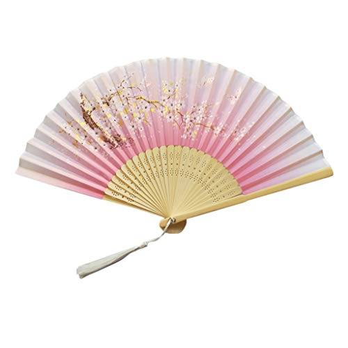 Ventilador plegable H.eternal(TM) de mano, abanicos de bambú, para mujer