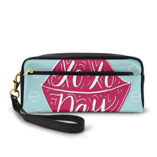 Pencil Case Pen Bag Pouch Stationary,Sexy Woman Full Pink Lips with Hugs and Kisses Day Phrase Fashion Graphic Print,Small Makeup Bag Coin Purse