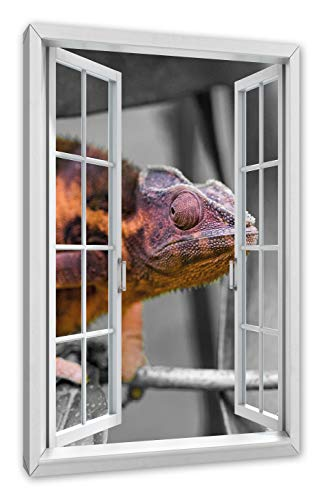 Pixxprint Chameleon op AST, venster canvasfoto | muurschildering | kunstdruk hedendaags 60x40 cm