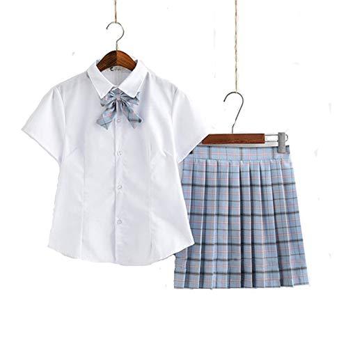 9840JK 女子高生 制服セット ワイシャツ+リボン+チェックスカート 春秋 長袖 半袖 夏 セーラー服 チェック柄 ショートプリーツスカート 白シャツ 大