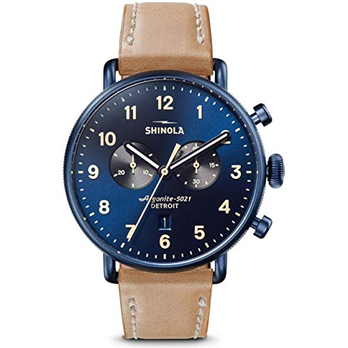 Shinola Detroit 43 mm Canfield 2 Eye Chrono Midnight Blue/Natural Leather Strap One Size