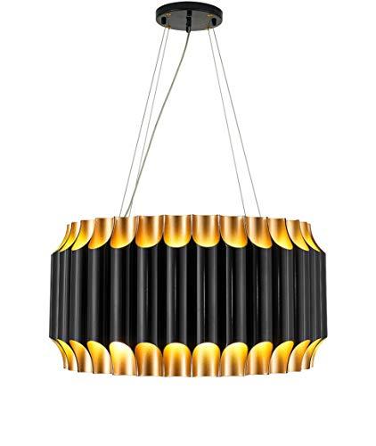 NEUERRAUM Großer schwarzer Bauhaus Kronleuchter Schwarz Matt Gold mit 22 Decken- und 22 Downlights G9 für LED Technik. 60-160 cm Gesamtlänge.