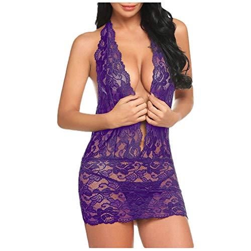 Deloito Damen Sexy Spitze Nachthemd Teddy Dessous mit Deep V-Ausschnitt Nachtkleid Unterwäsche Neckholder Rückenfrei Babydoll Pyjama Kleid Nachtwäsche (Lila,Large)