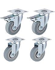 FIXKIT 4 stuks transportwielen 75 MM zwenkwielen zwaarlast wielen met rem, draagvermogen 150 kg