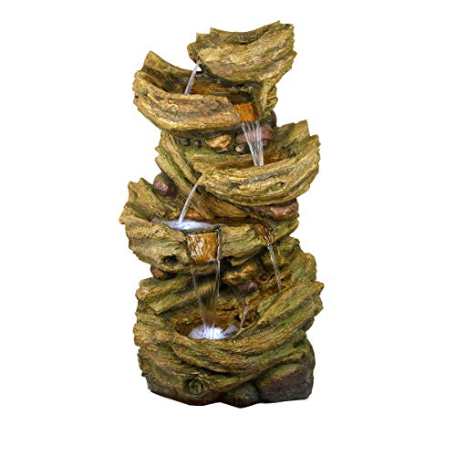 Alpine Corporation TZL134 5-Tier Water Fall Fountain, 53 Inch Tall, Brown