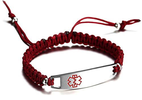 JF.JEWELRY 12 mm Medical Alert Bracelet for Kids with Nylon Braided Band, Free Engraving, Wine Red