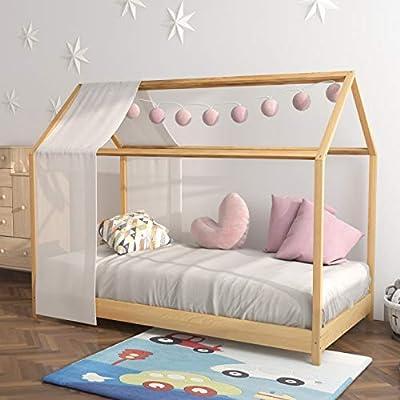 Panana Junior Toddler Kids Bed Scandinavian Style Solid Wooden Frame Fit Mattress 80 * 160cm Natural Oak effect