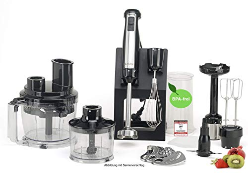 KeMar Kitchenware KSM-800 Komplett Stabmixer, Mixer, Handstabmixer, Edelstahl, Titan Klinge, 800 Watt, inkl. Zubehör