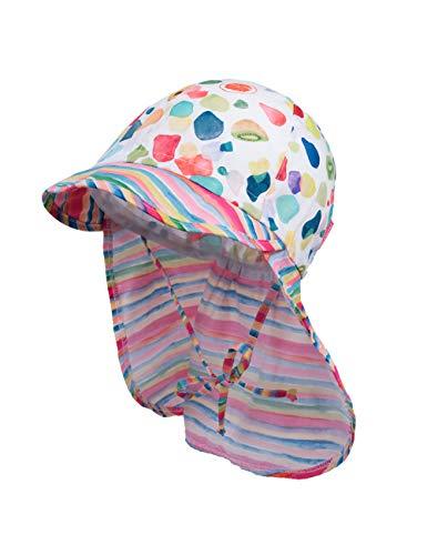 maximo Baby-Mädchen Nackenschutz Mütze, Mehrfarbig (Ecru-Bunte Früchte/Multicolor Streifen 4645), (Herstellergröße: 49)